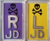 Skull and Crossbone Xray Markers with 2 or 3 Characters